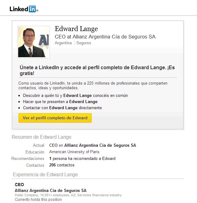 Linkedin de Edward Lange