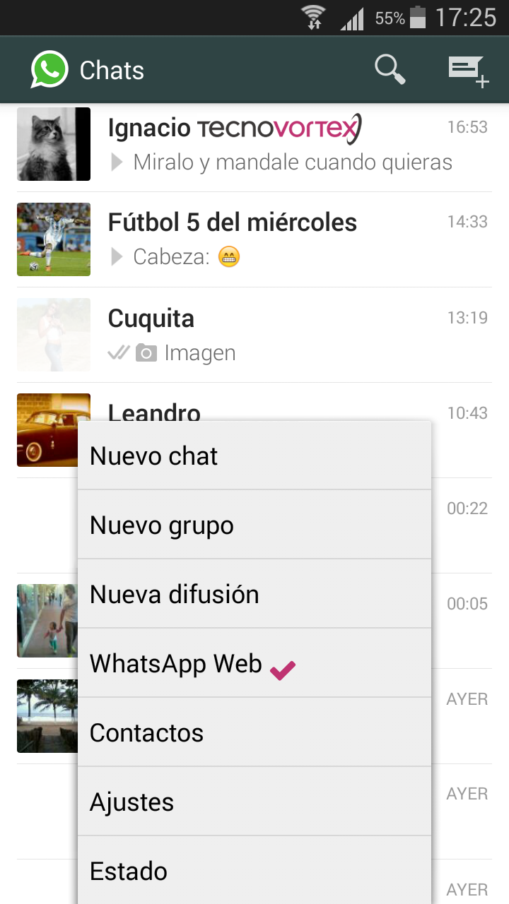 Botón de Whatsapp Web en la aplicación de Android