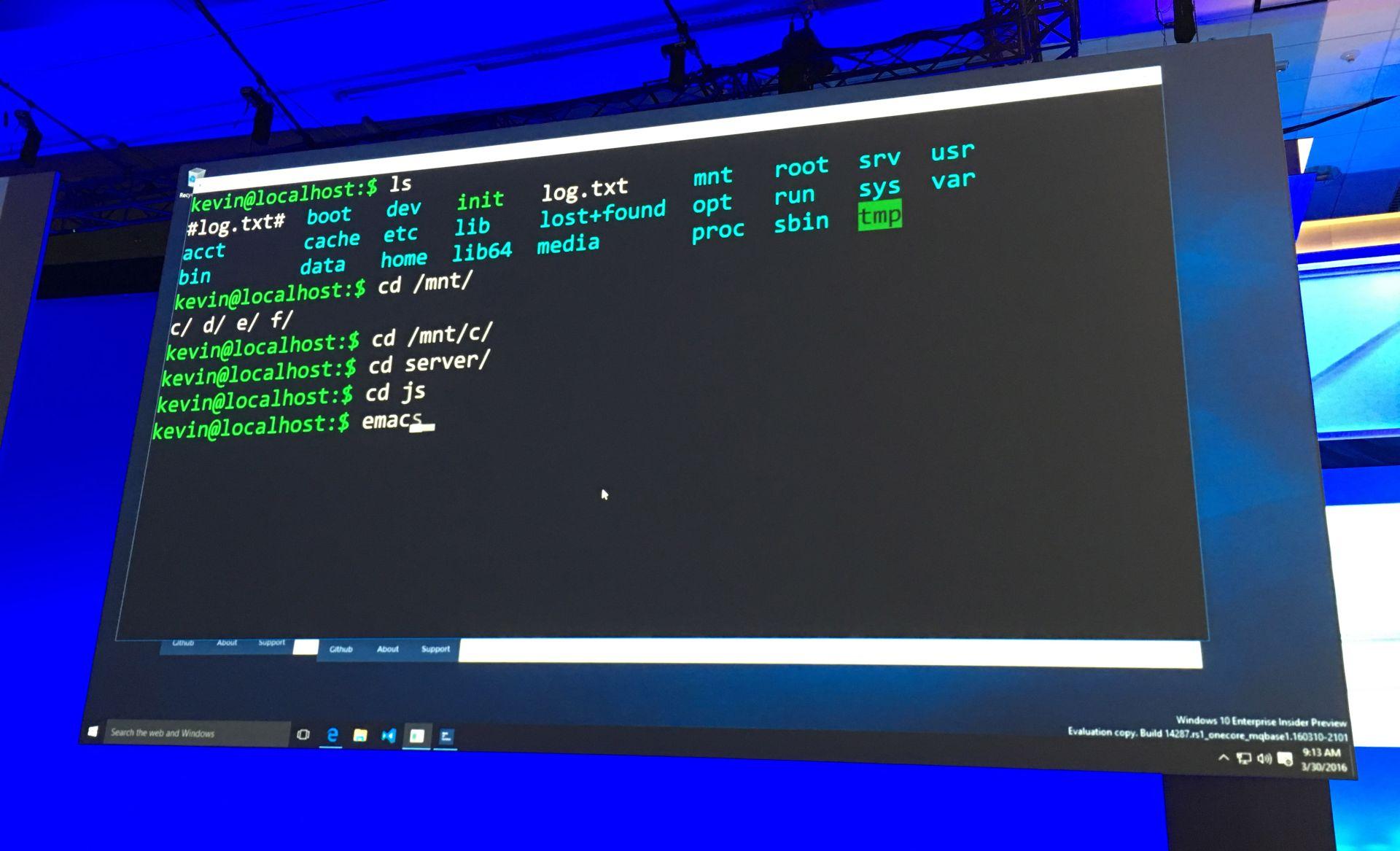 Una muestra de BASH en Windows.