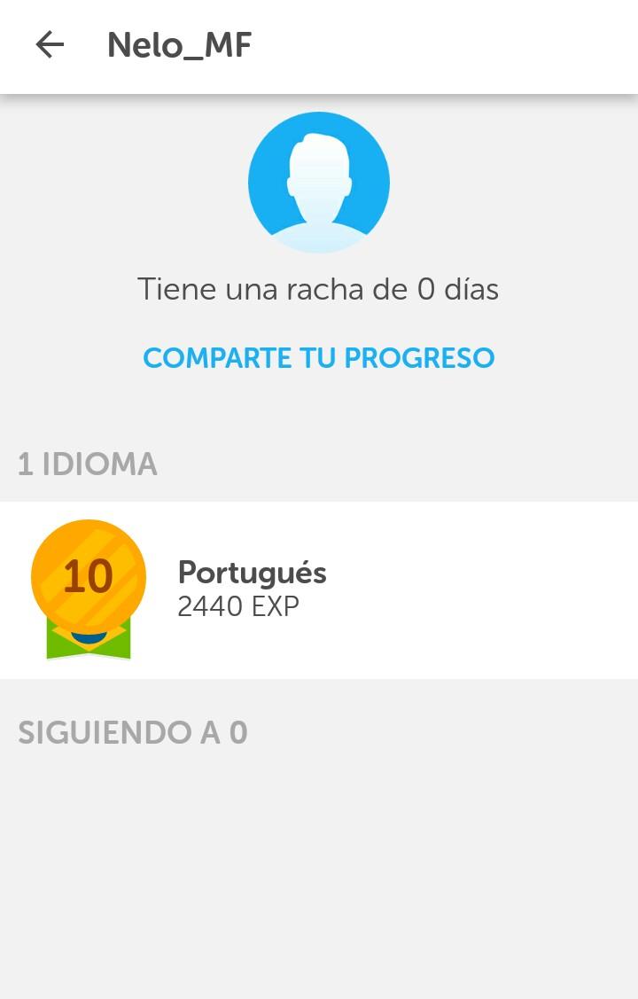 Mi perfil en Duolingo, acá se puede ver que estoy estudiando portugués.