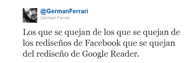Tweet de Germán Ferrari sobre el nuevo Google Reader
