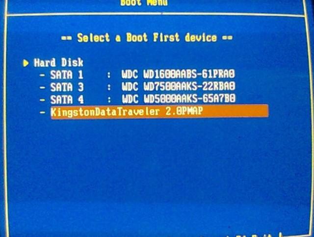Iniciar desde el puerto USB
