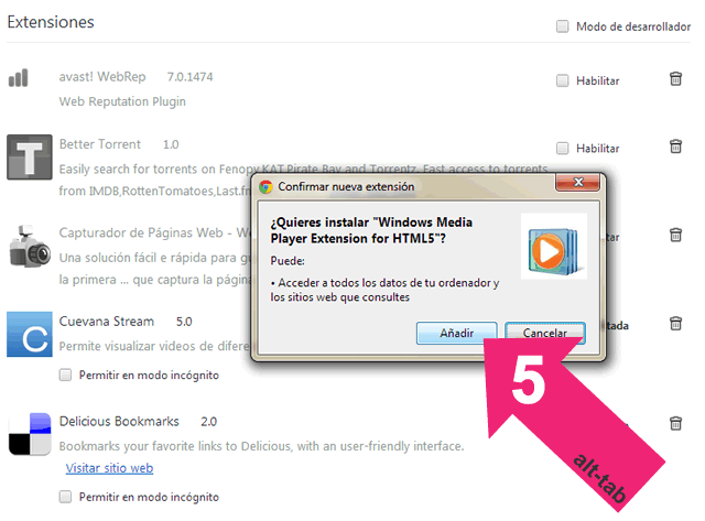 Windows media player en Chrome