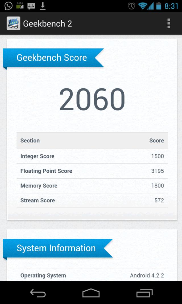 Resultados de Geekbench 2 del Nexus 4