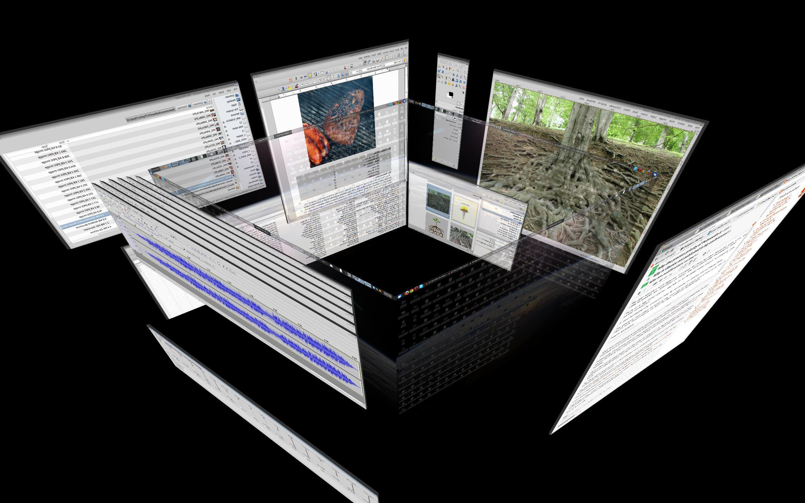 Un desktop con el clásico cubo de Compiz. Estaba muy de moda antes.