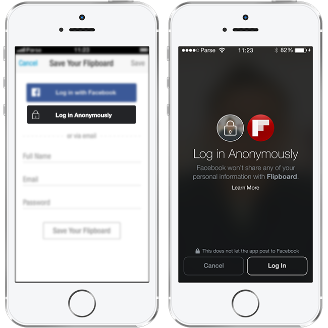Facebook Anonymous Login ejemplo