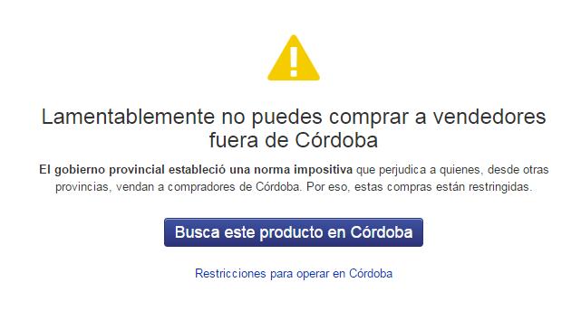 Error al comprar a otros vendedores que no estén en Córdoba