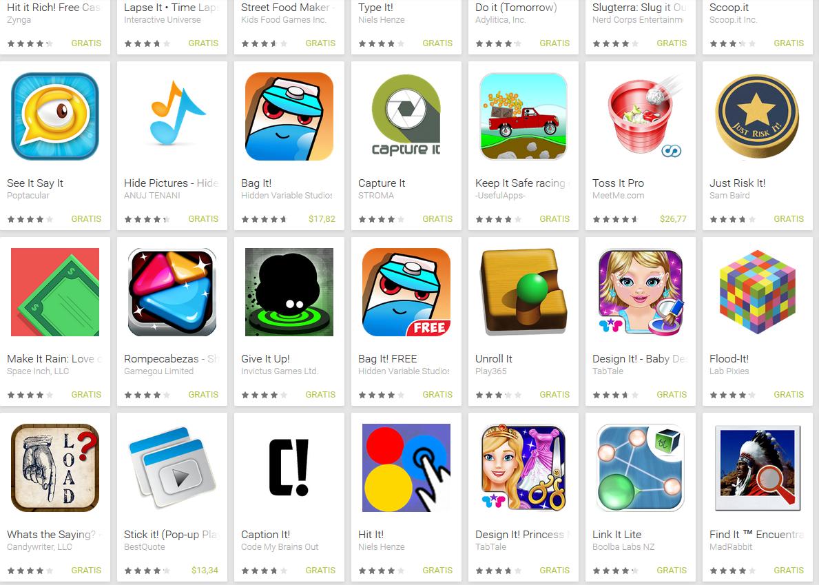 """Algunas de las cosas que salen cuando uno busca """"IT"""" en Google Play"""