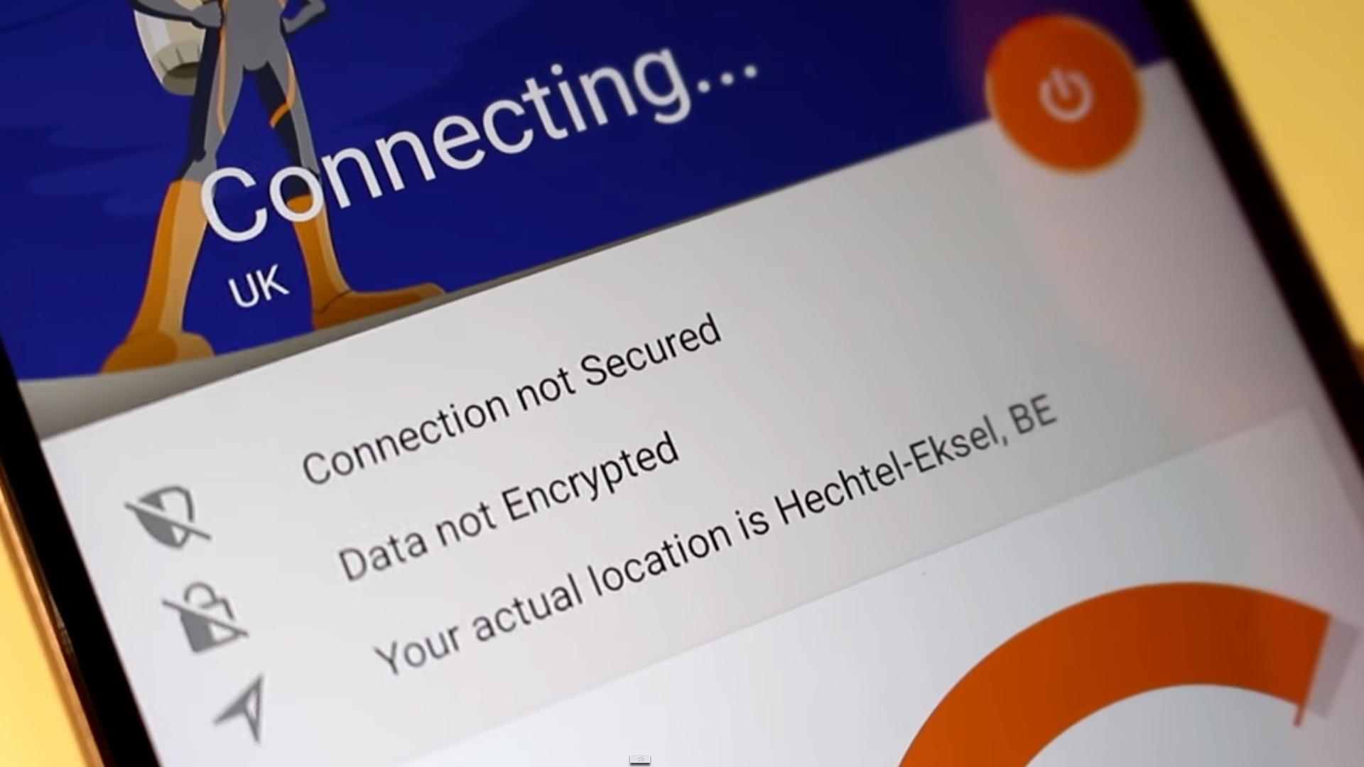 Rocket VPN inentando conectarse. La interfaz es muy sencilla.