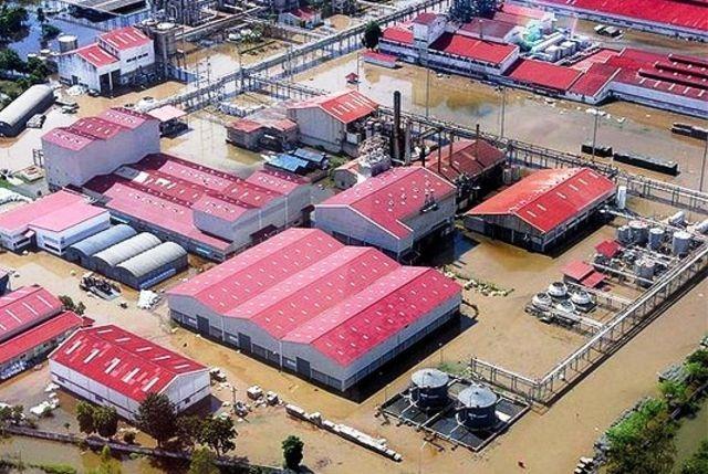 Almacenes WD inundados en Tailandia