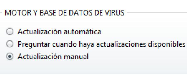 Configurar antivirus manualmente