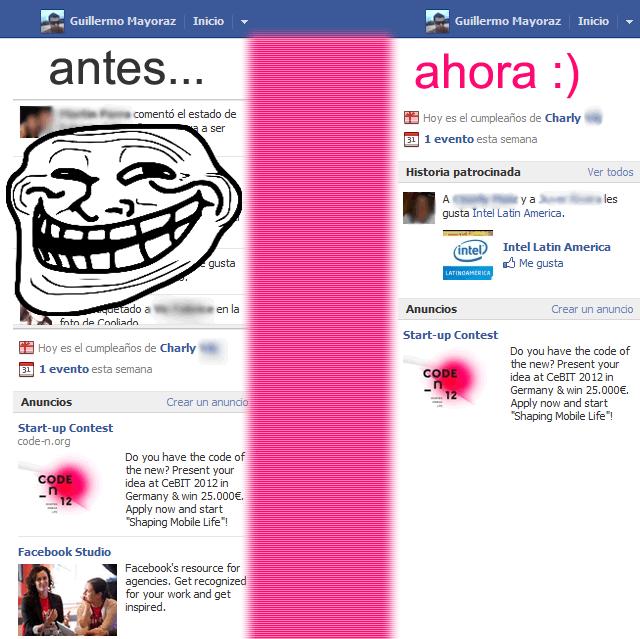 """Eliminar barra """"Ticker"""" de Facebook."""