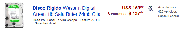 Precio disco rígido 1TB