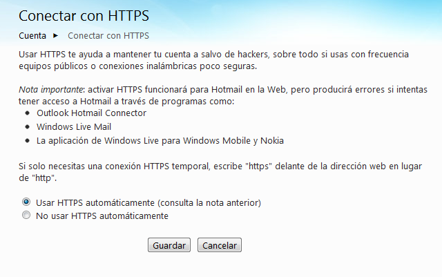 HTTPS en Hotmail