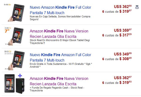 Kindle Fire en Mercadolibre
