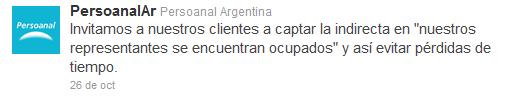 "Cuenta twitter de Personal ""paralela"""