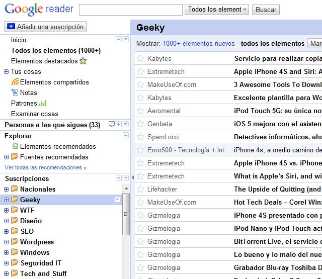 Google Reader, el mejor lector de feeds